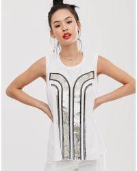 Sass & Bide Camiseta sin mangas con diseño art deco con lentejuelas - Blanco