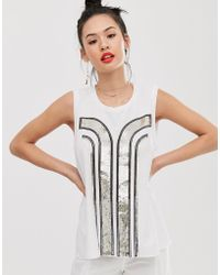 Sass & Bide T-shirt senza maniche con motivo art déco di paillettes - Bianco