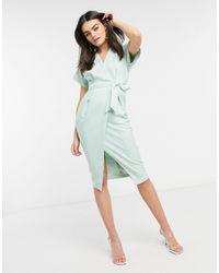 Closet Kimono Wrap Tie Midi Dress - Green