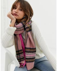 River Island Check Scarf In Pink