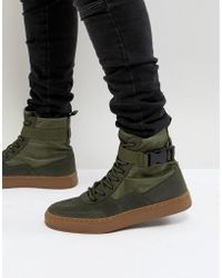 ASOS Asos High Top Trainer Boots In Khaki With Gum Sole - Green