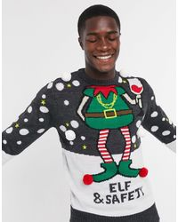 Brave Soul Elf And Safety Christmas Jumper-grey - Gray