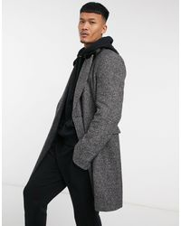 ASOS Wool Mix Double Breasted Overcoat With Faux Fur Collar - Gray