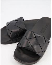 ASOS Finley Woven Sliders - Black