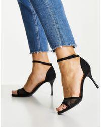 New Look Черные Туфли На Шпильке С Сетчатым Верхом И Ремешком -черный Цвет