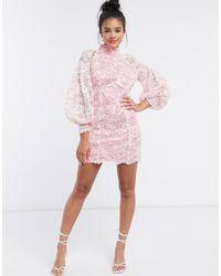 River Island Vestito corto con maniche voluminose - Rosa