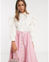Sister Jane Shirt With Volume Sleeves - White