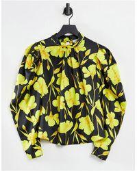 Closet Топ С Высоким Воротом И Длинными Рукавами В Цветочном Принте Power-многоцветный - Желтый