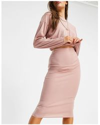 Missguided Crop Top And Midaxi Skirt Set - Pink