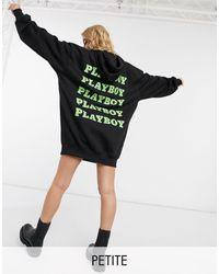 Missguided Playboy Oversized Hoody Dress - Black