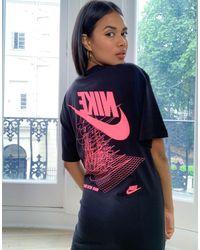 Nike Черное Свободное Платье-футболка С Принтом На Спине -черный