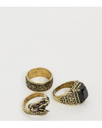 Reclaimed (vintage) Inspired Ring Pack With Stone Detail And Dragon Design Ring In Burnished Gold Exclusive To Asos - Metallic