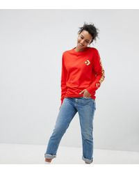Converse - Exclusive To Asos Long Sleeve T-shirt With Arm Branding In Red - Lyst