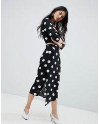 eab12742602453 Missguided 2 In 1 Dress With Floral Jacquard Skirt - Multi in Black ...