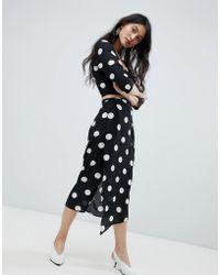Oh My Love Wrap Midi Skirt In Polka Dot - Black