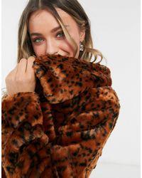 BB Dakota Leopard Faux Fur Coat - Brown