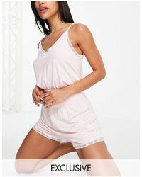 Missguided Lace Trim Cami Pyjama Set - Pink