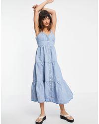 Levi's Tiered Denim Maxi Dress - Blue