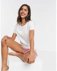 Calvin Klein – Loungewear – Kurzes Pyjamaset mit Farbspritzermuster - Mehrfarbig