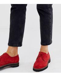 ASOS Pointure large - Virtual - Chaussures plates en cuir à lacets - Daim rouge