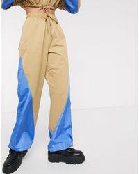 Collusion Nylon Wide Leg Track Pants-brown