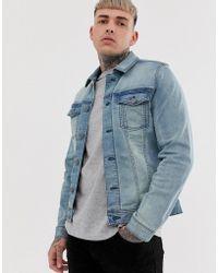 36c041226 Slim Fit Denim Jacket With Stretch In Light Wash Blue