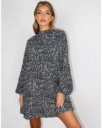 Missguided Long Sleeve Shift Dress With High Neck - Black