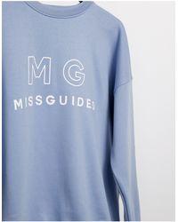 Missguided Голубой Свитшот С Графическим Принтом - Синий