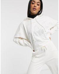 adidas Originals Fakten Diamante Trefoil Hoodie - White