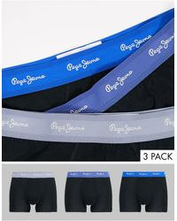 Pepe Jeans Albor 3 Pack Trunks With Blue And Shadow Waistbands - Black