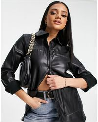 NA-KD Oversized Faux Leather Shirt - Brown