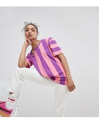 PUMA - Exclusive To Asos T-shirt In Bold Pink And Purple Stripe - Lyst