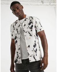 TOPMAN Светло-бежевая Рубашка С Чернильным Принтом И Отложным Воротником -neutral - Многоцветный