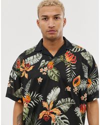 ASOS Revere Jersey Polo With Floral Print - Multicolour