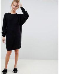 5c50ed49205 River Island V-neck Oversized Valentines Jumper Dress in Black - Lyst