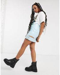 ASOS Vinyl Mini Skirt With Buckle-multi - Blue