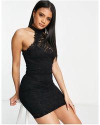 AX Paris Vestito corto accollato nero - Blu