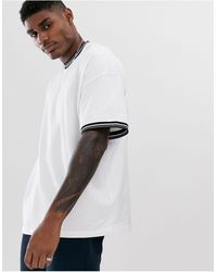 ASOS Pique Oversized T-shirt With Contrast Tipping - White
