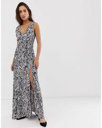River Island Maxi Dress In Snake Print - Gray