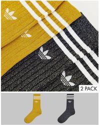 adidas Originals Набор Из 2 Пар Блестящих Носков Разных Цветов Adicolor-разноцветный - Многоцветный