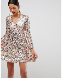 Club L - Rose Gold Mini Disc Sequins Wrap Over Skater Dress - Lyst