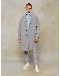 TOPMAN Dropped Shoulder Coat With Wool - Grey