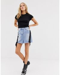 Glamorous - Denim Skirt With Lace Up Detail - Lyst