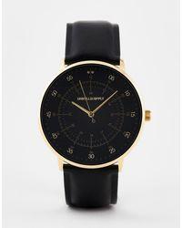 ASOS Klassiek Horloge Met Gouden Highlights En Band Van Zwart Imitatieleer