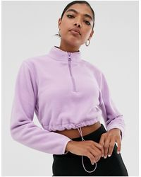 ASOS Cropped Fleece With Zip - Purple