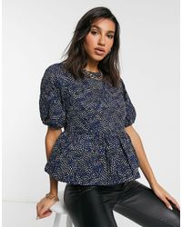 Y.A.S Textured Top With Peplum And Puff Sleeves - Blue