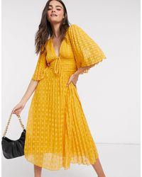 ASOS Платье Миди Со Шнуровкой И Плиссировкой Горчичного Цвета - Желтый