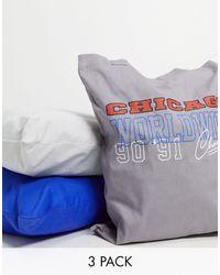 ASOS 3 Pack Tote Bags - Blue