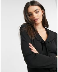 Vila Blouse With Embroidered Collar - Black