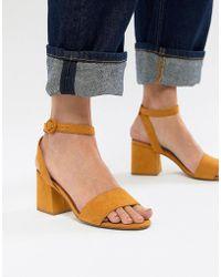 Pull&Bear - Block Heel Two Part Mid Sandal In Mustard - Lyst